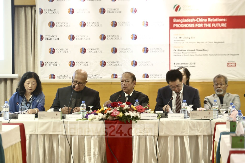 Panelists speak at a discussion on Bangladesh-China relations at a restaurant in Dhaka's Gulshan. Photo: Mahmud Zaman Ovi