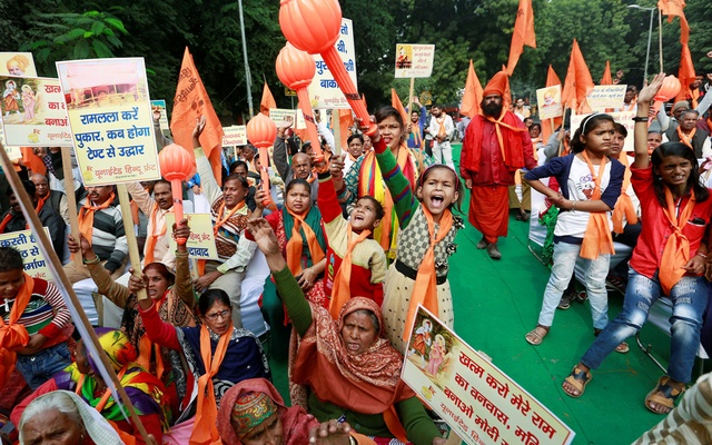 People shout slogans during a demonstration organised by the Hindu hardline group