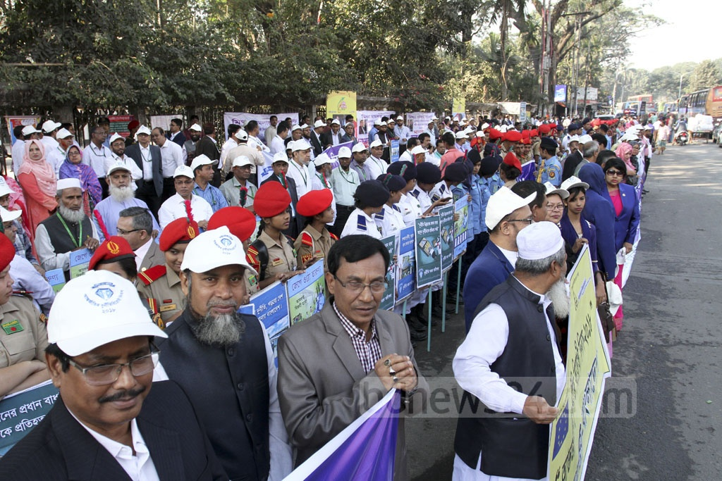 An International Anti-Corruption Day demonstration is held in front of the National Press Club on Sunday. Various government, semi-private and private organisations took part in the programme organised by the Anti-Corruption Commission. Photo: Asif Mahmud Ove