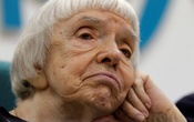 Lyudmila Alexeyeva, human rights activist and one of the founders of the Moscow Helsinki Watch Group, attends a news conference by Grigory Yavlinsky, presidential candidate and one of the leaders of the