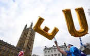 An anti-Brexit protester holds balloons opposite the Houses of Parliament in London, Britain, December 10, 2018. Reuters