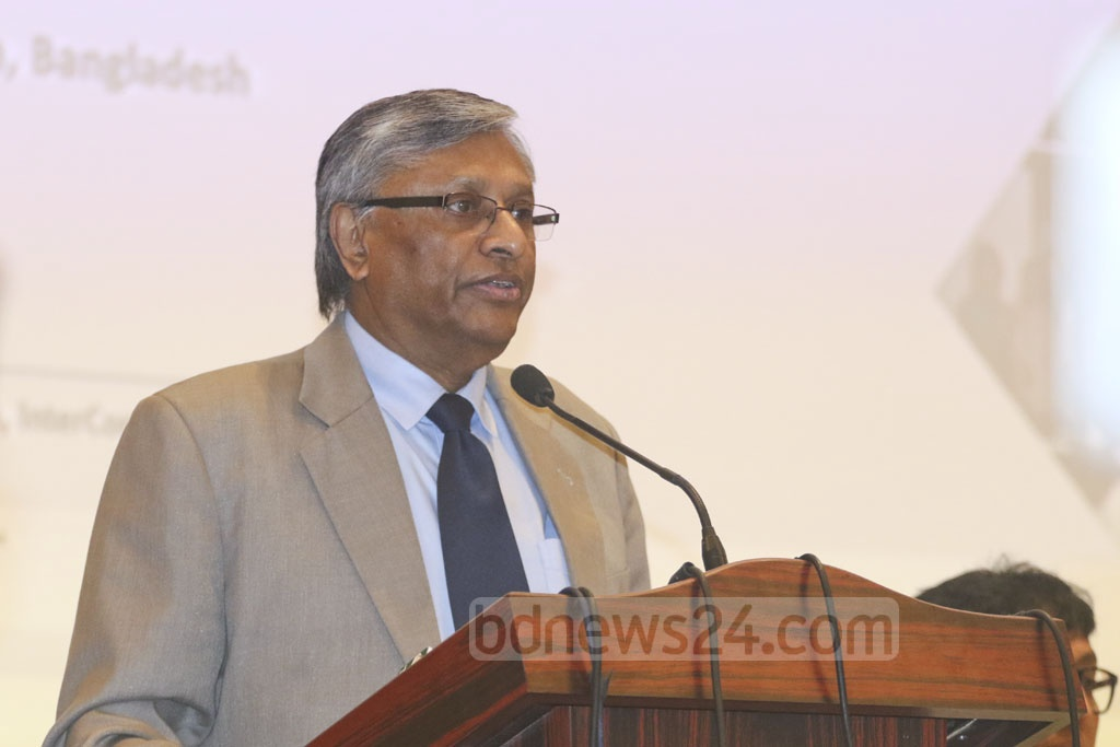 National Human Rights Commission Chairman Kazi Reazul Hoque speaking at a Human Rights Day event in Dhaka on Monday. Photo: Abdullah Al Momin