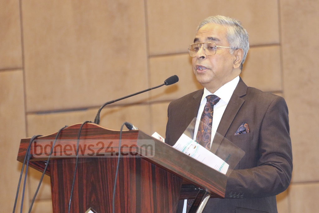 Chief Justice Syed Mahmud Hossain speaking at a Human Rights Day event in Dhaka on Monday. Photo: Abdullah Al Momin