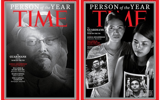 Saudi journalist Jamal Khashoggi (L) and Ma Pan Ei Mon and Chit Su Win holding photos of their husbands, Reuters journalists Wa Lone and Kyaw Soe Oo, named TIME's Person of the Year 2018, are seen in this combination image of the covers which also named Maria Ressa, a Filipina journalist, and the staff of the Capital Gazette newspaper, as its