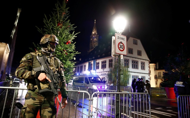 Soldier secures area where a suspect is sought after a shooting in Strasbourg, France, December 11, 2018. Reuters