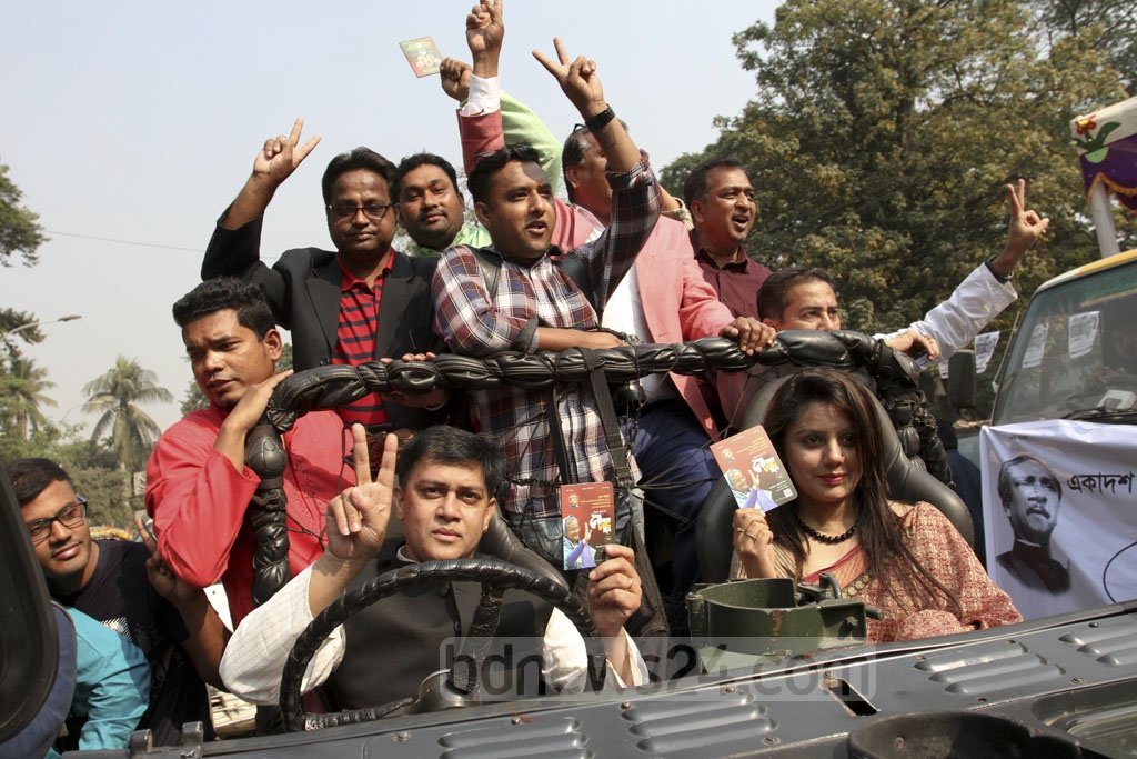 Scores of celebrities took part in the ruling Awami League's election campaign at the Central Shaheed Minar in Dhaka on Thursday. Photo: Asif Mahmud Ove