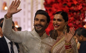 Bollywood actor Ranveer Singh and his wife actress Deepika Padukone leave after attending the wedding ceremony of Isha Ambani, the daughter of the Chairman of Reliance Industries Mukesh Ambani, in Mumbai, India, December 12, 2018. Reuters
