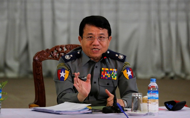FILE PHOTO - Myanmar's Police Chief Zaw Win speaks to the media during a news conference regarding the killing of Ko Ni, a prominent lawyer advising the ruling National League for Democracy (NLD) party, in Yangon, Myanmar February 25, 2017. Reuters