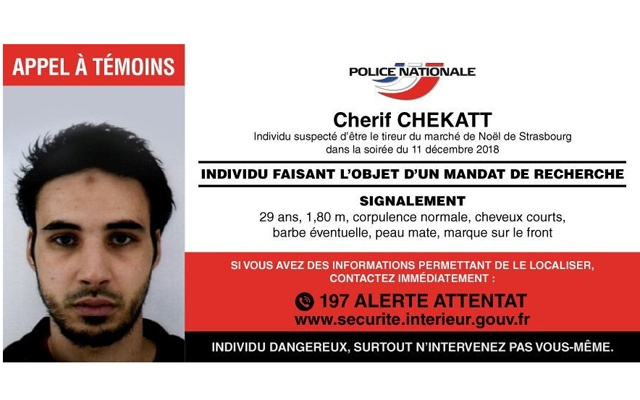 French police posted Dec 12, 2018 on their Police Nationale Twitter account, a call for witnesses for Strasbourg-born Cherif Chekatt, 29, the day after a gun attack on a Christmas market in Strasbourg, France. REUTERS
