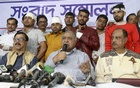 Jatiya Oikya Front chief Dr Kamal Hossain speaking at a press conference at the alliance's Purana Paltan offices in Dhaka on Friday. Photo: Abdullah Al Momin