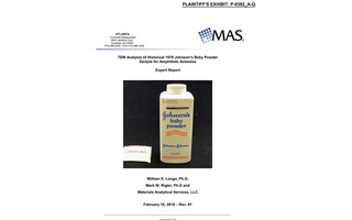 The front page of a report analysing a sample of Johnson's Baby Powder from 1978, entered in court as a plaintiff's exhibit in a case against Johnson & Johnson, is pictured in this undated handout photo obtained by Reuters Nov 9, 2018. Mark Lanier/Handout via REUTERS