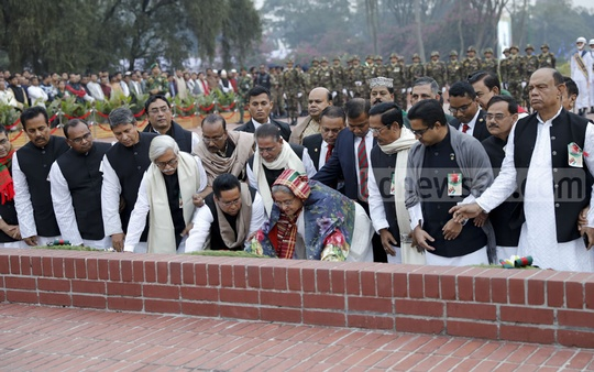 Prime Minister Sheikh Hasina pays tribute to the martyrs of 1971 at the National Martyrs' Memorial on Sunday.