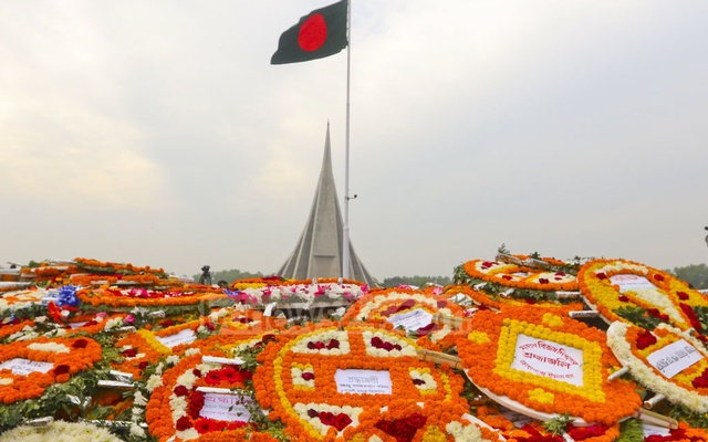 The National Martyrs' Memorial is strewn with flowers on the 47th anniversary of Victory Day. Photo: Abdullah Al Momin
