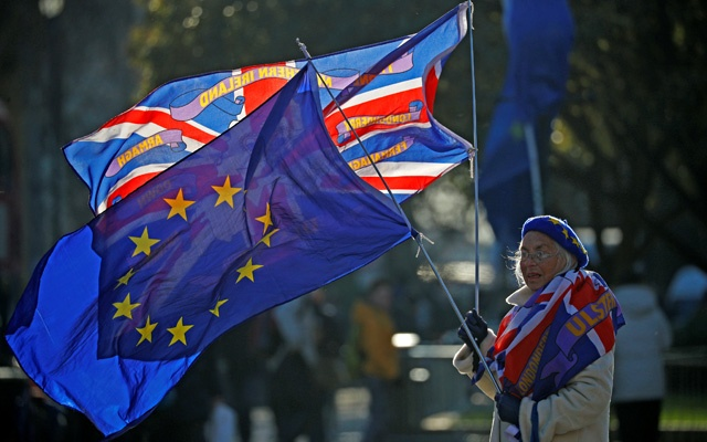 A pro-EU supporter holds flags outside the Houses of Parliament in Westminster London, Britain, Dec 13, 2018. REUTERS/Phil Noble