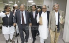 Dr Kamal Hossain leading a Jatiya Oikya Front delegation to the Election Commission in Dhaka on Monday to lodge complaints about attacks on and cases against the candidates and supporters of the alliance. Photo: Abdullah Al Momin