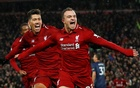 Premier League - Liverpool v Manchester United - Anfield, Liverpool, Britain - Dec 16, 2018 Liverpool's Xherdan Shaqiri celebrates scoring their third goal with Roberto Firmino and Georginio Wijnaldum REUTERS/Phil Noble