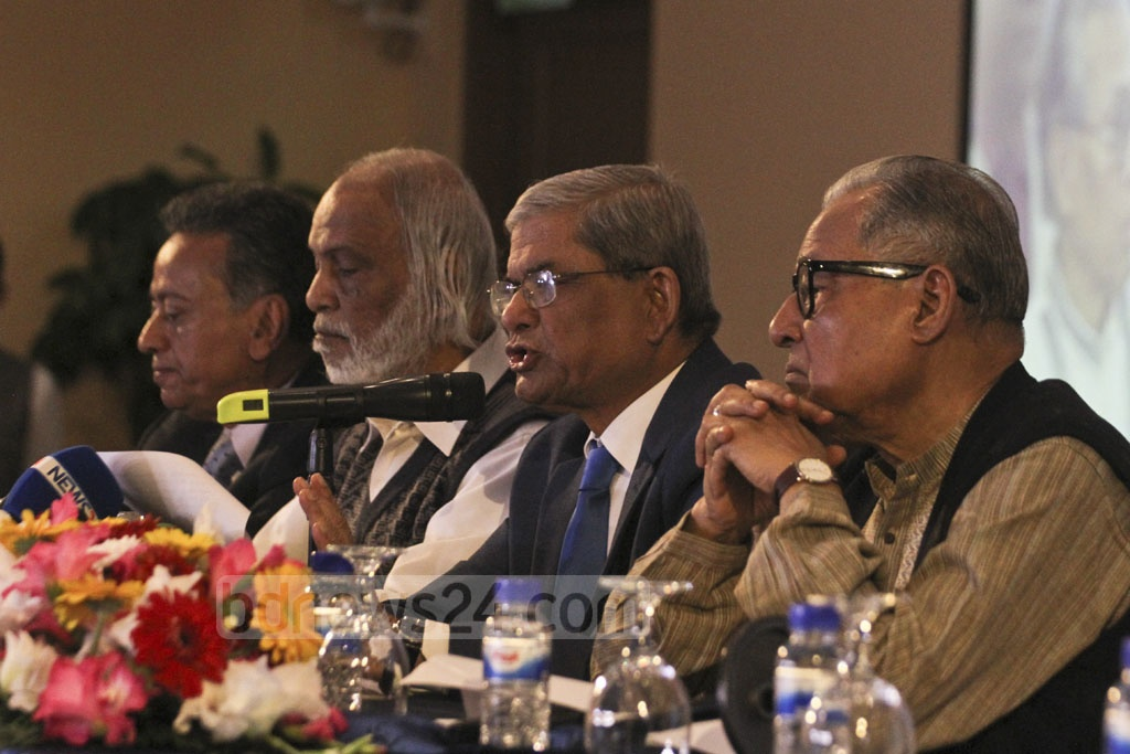 BNP Secretary General Mirza Fakhrul Islam Alamgir announces the party's manifesto for the 11th parliamentary election at Dhaka's Lakeshore hotel on Tuesday. Photo: Asif Mahmud Ove