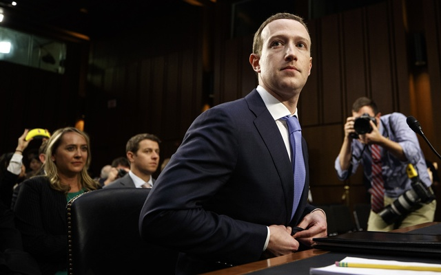 FILE PHOTO: Mark Zuckerberg, Facebook's chief executive, at a Senate hearing in Washington, Apr 10, 2018. Internal documents show that the social network gave Microsoft, Amazon, Spotify and others far greater access to people's data than it has disclosed. Tom Brenner/The New York Times