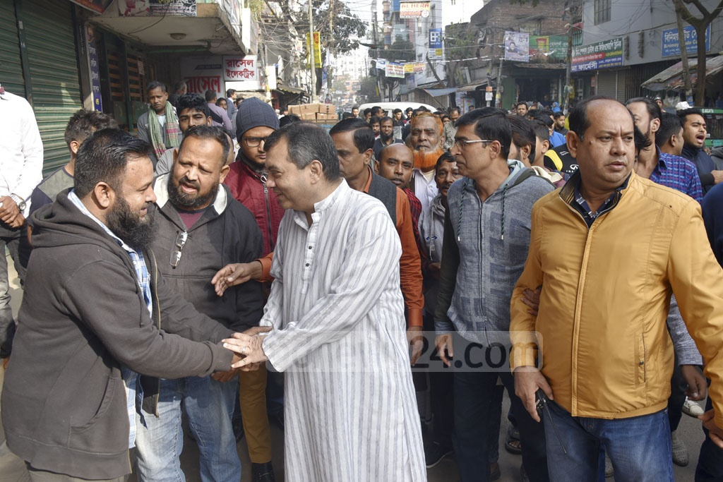 Dhaka-9 Awami League candidate Saber Hossain Chowdhury campaigns in Khilgaon on Thursday.