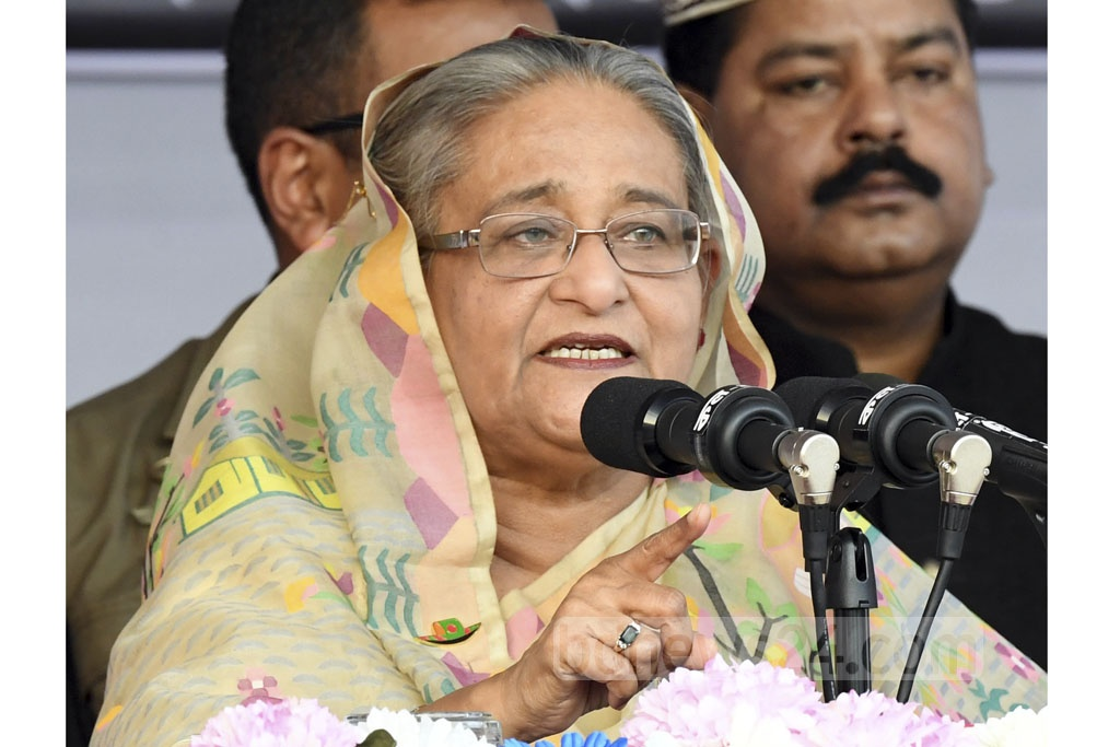 Prime Minister Sheikh Hasina addressing the Awami League's campaign rally at the Gulshan Youth Club ground in Dhaka on Friday. Photo: PID