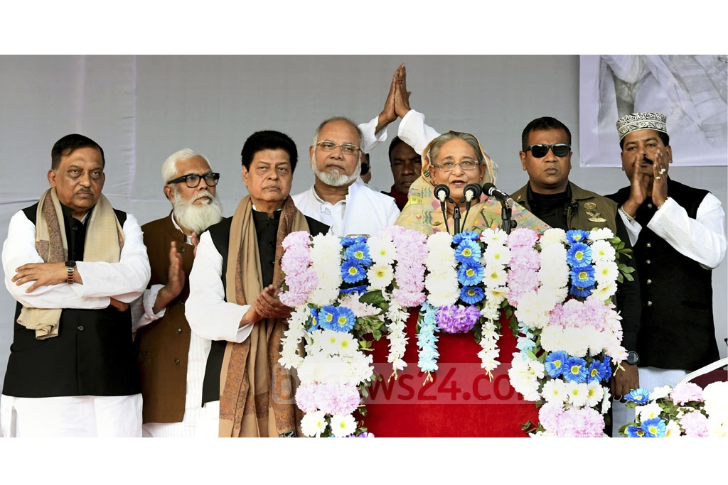 Prime Minister Sheikh Hasina reintroducing Awami League candidates for different Dhaka constituencies at a campaign rally at the Gulshan Youth Club ground on Friday. Photo: Abdullah Al Momin