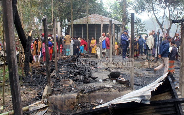 The remains of a Hindu family home at Thakurgaon's Singia Shahapara village in the aftermath of an arson attack that destroyed eight huts and killed seven goats on early Friday.
