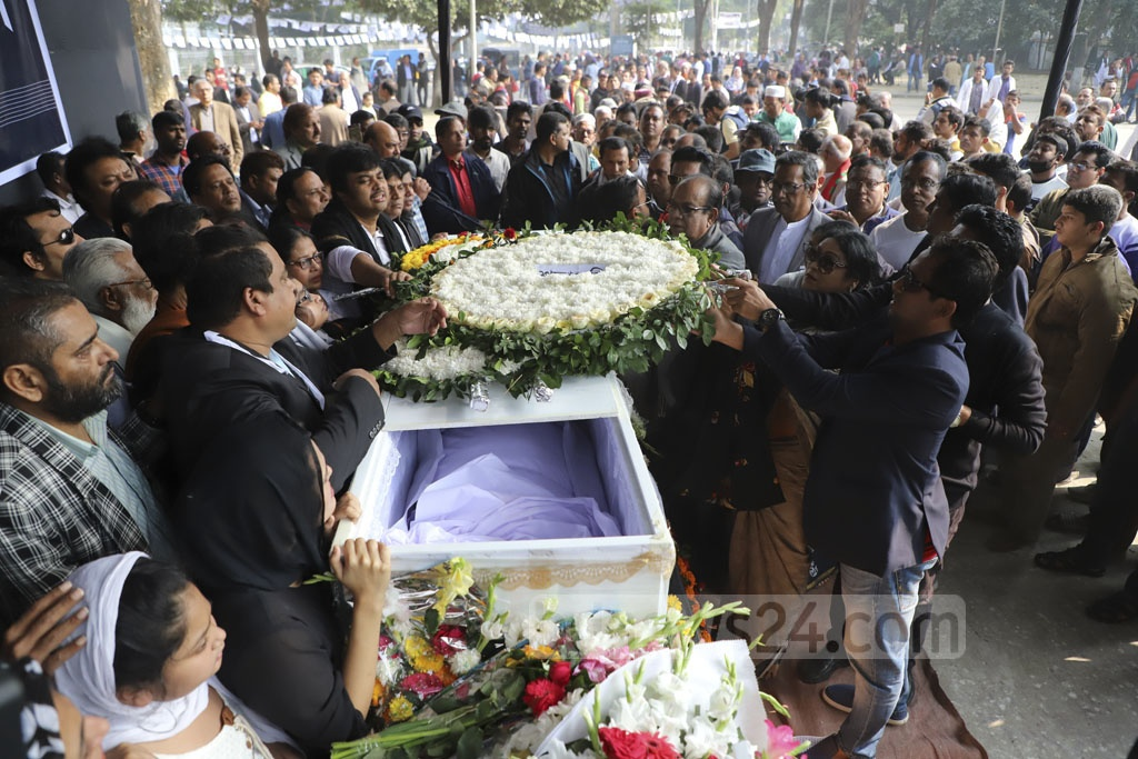 Various social, cultural and political organisations came to say their final farewell to departed film director Amjad Hossain at Dhaka's Central Shaheed Minar on Saturday. Photo: Abdullah Al Momin