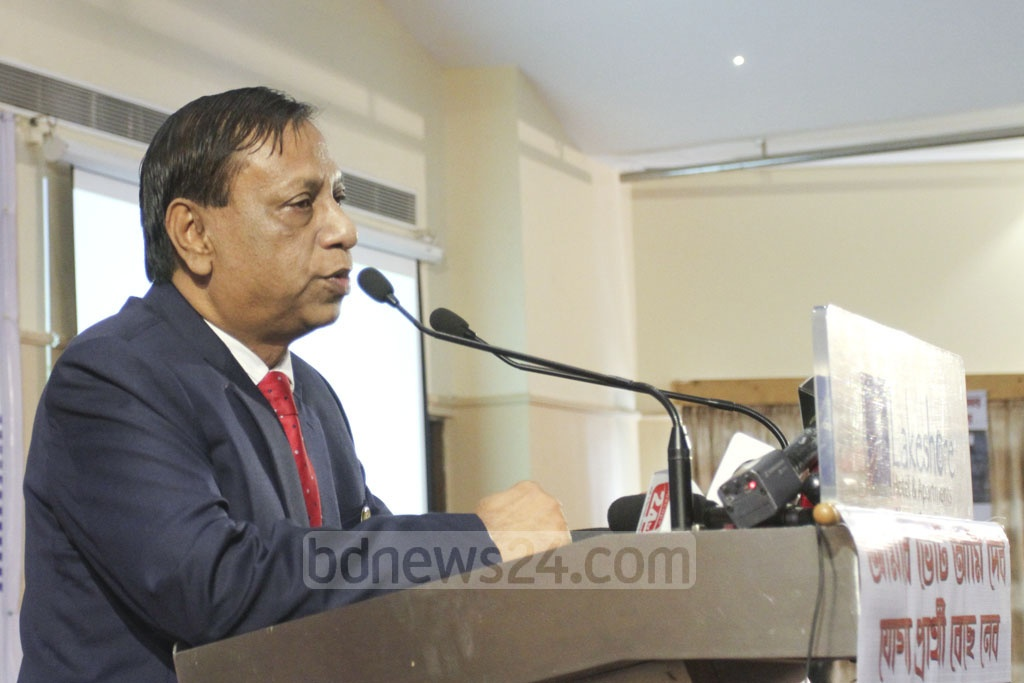Former Election Commissioner Mohammad Shahnewaz speaks at a discussion titled 'Developing Bangladesh: The National Parliamentary Elections and Peoples' Expectations' organised by the Election Monitoring Forum at the Lakeshore Hotel in Dhaka's Gulshan on Saturday. Photo: Asif Mahmud Ove