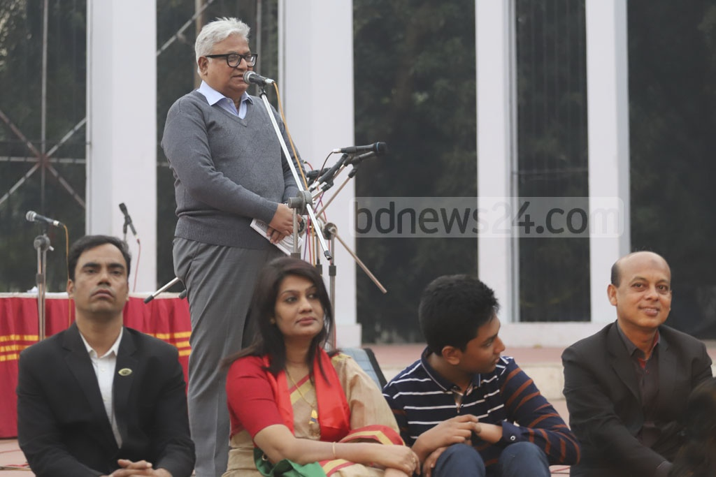 The prime minister's Economic Affairs Adviser Mashiur Rahman addressing a rally of the Professionals' Coordination Council at the Central Shaheed Minar in Dhaka on Sunday. The council at the programme urged the people to vote for the pro-independence forces and boycott those against the Liberation War spirit. Photo: Abdullah Al Momin