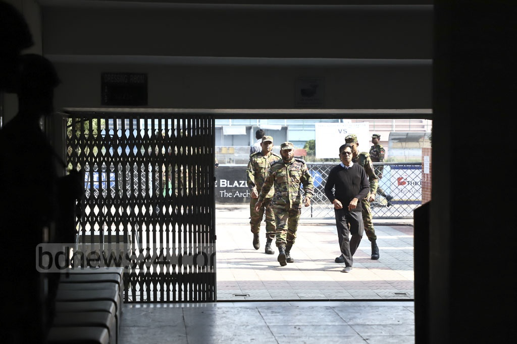 Army personnel stand guard at the Maulana Bhasani Hockey Stadium following the deployment of troops on Monday for the parliamentary elections. Photo: Abdullah Al Momin