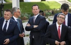 Richard Grenell, centre, the American ambassador to Germany, has been an outspoken advocate for the Trump administration since taking his post in Berlin in May. The New York Times.