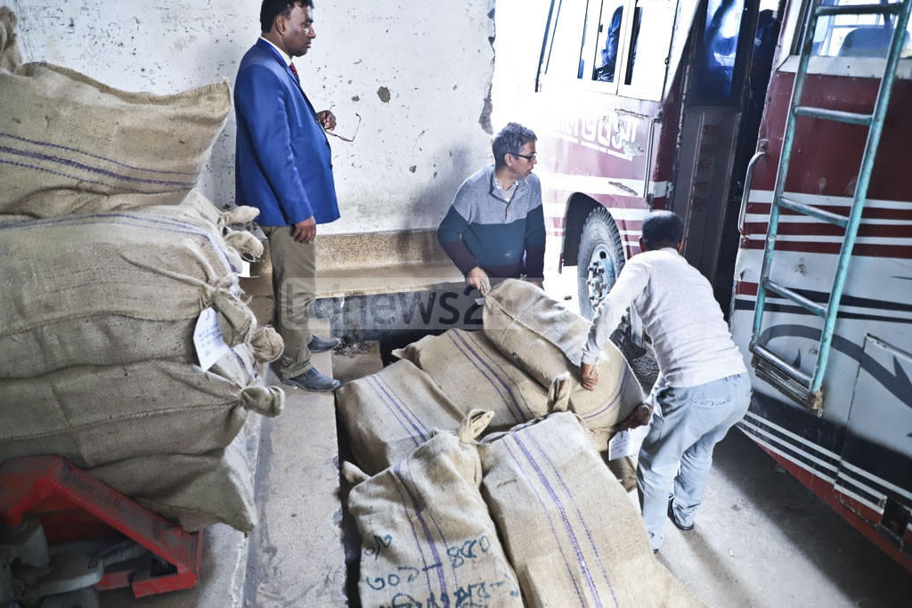 Sacks of ballot papers are mounted on a vehicle outside Tejgaon's BG Press on Tuesday with four days left to the parliamentary election. Photo: Abdullah Al Momin