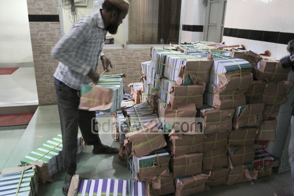 Bundles of new textbooks being delivered to schools just a few days before the new school year. This photo was taken from Motijheel Ideal School and College on Tuesday. Photo: Asif Mahmud Ove