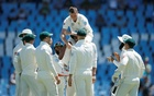 South Africa's Dale Steyn is congratulated by team mates after bowling out Fakhar Zaman. South Africa v Pakistan - First Test - SuperSport Park Stadium, Centurion, South Africa - December 26, 2018. Reuters