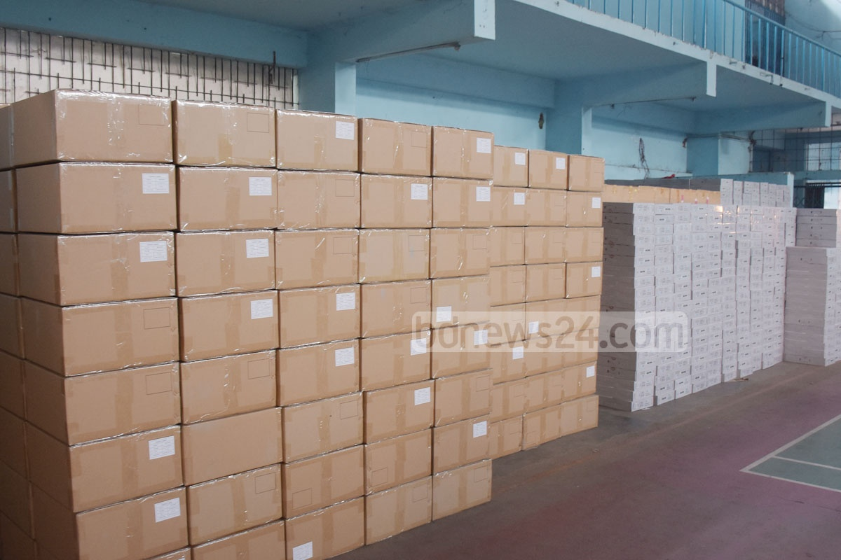 EVMs have been kept at the Chattogram Gymnasium for use in some polling stations in the Dec 30 parliamentary election. This photo was taken on Wednesday. Photo: Suman Babu