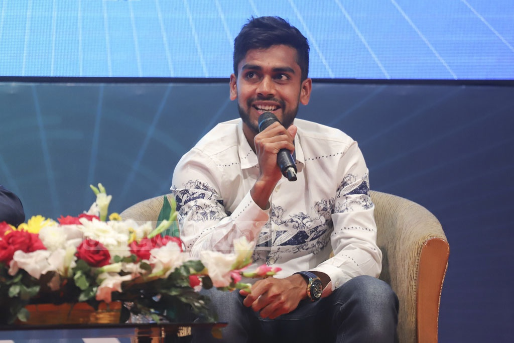 National cricketer Mehidy Hasan Miraz speaking at a discussion organised by Centre for Research and Information (CRI) and #IamBangladesh in Dhaka on Wednesday for the youth on the election manifesto of the Awami League. Photo: Abdullah Al Momin