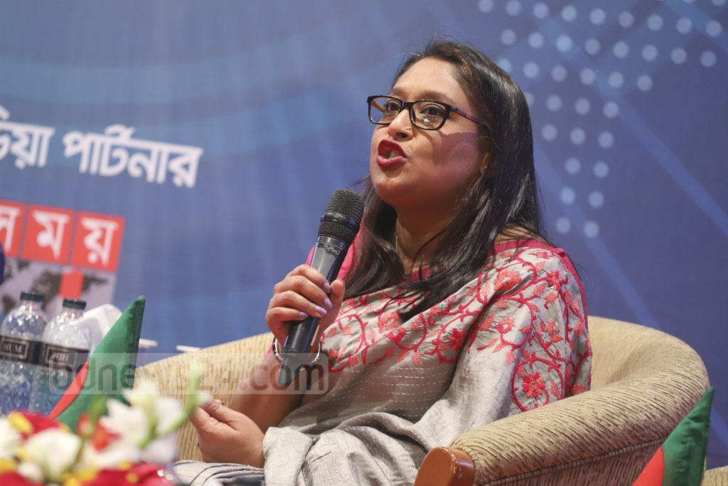 Prime Minister Sheikh Hasina's daughter Saima Wazed Hossain speaking at a discussion organised by Centre for Research and Information (CRI) and #IamBangladesh in Dhaka on Wednesday for the youth on the election manifesto of the Awami League. Photo: Abdullah Al Momin