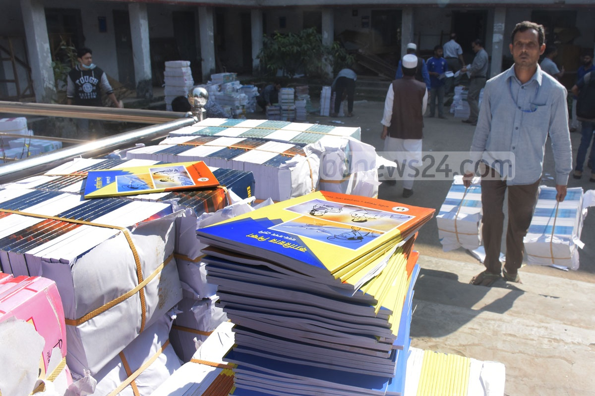 Textbooks have already arrived at schools across the country, ready to be distributed to children on the first day of the New Year. Photo taken at Chattogram's Dr Khastagir Government Girls' High School. Photo: Suman Babu