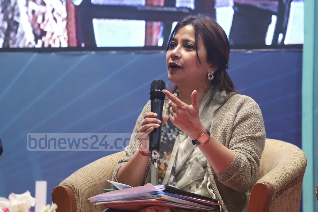 State Minister for Information Tarana Halim speaking at a discussion organised by Centre for Research and Information (CRI) and #IamBangladesh in Dhaka on Wednesday for the youth on the election manifesto of the Awami League. Photo: Abdullah Al Momin