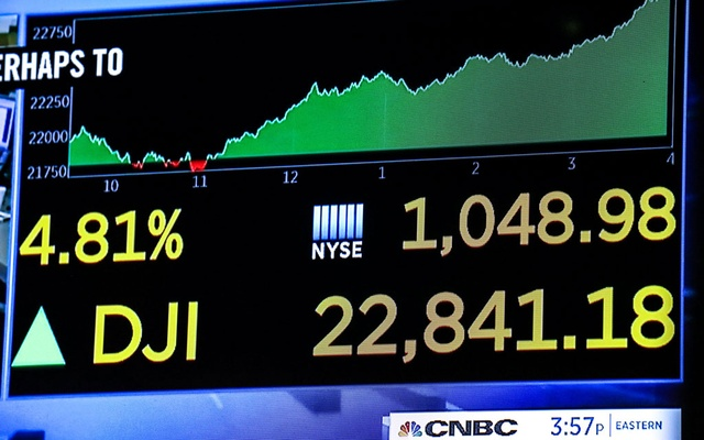 A screen displays the Dow Jones Industrial Average after the close of trading on the floor of the New York Stock Exchange (NYSE) in New York City, US, Dec 26, 2018. REUTERS/Jeenah Moon