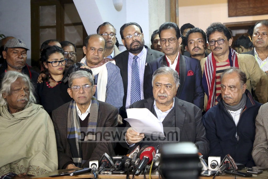 Dr Kamal Hossain and other leaders of the Jatiya Oikya Front alliance speaking at a press conference in Dhaka on Sunday night after daylong voting amid deadly violence. Alleging widespread rigging, the Oikya Front has demanded fresh elections.