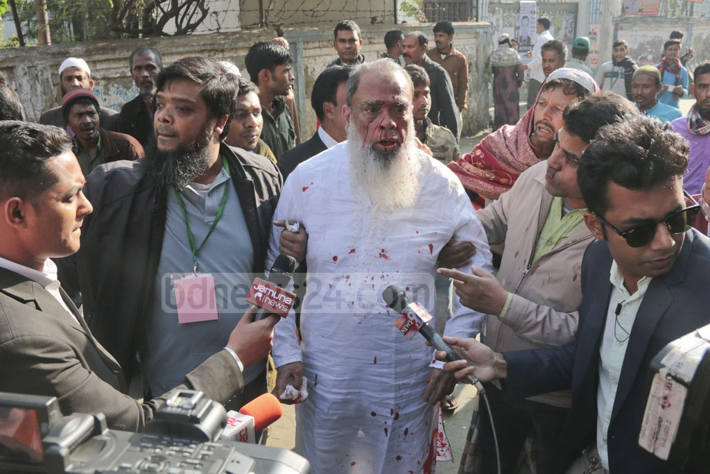 Dhaka-4 BNP candidate Salahuddin Ahmed was attacked at the Shyampur Model School and College polling centre on Sunday morning.