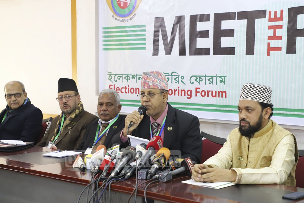 The SAARC Human Rights Foundation and the Election Monitoring Forum held a press conference at the National Press Club on Monday to convey their experiences as election observers. Photo: Abdullah Al Momin