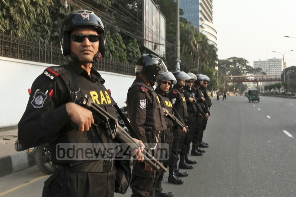 The Rapid Action Battalion took extra security measures in Dhaka on Monday, the New Year's Eve, after the general election.
