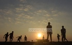 Children playing as the sun sets at South Kattoli Rani Rashmoni Ghat pier in Chattogram on the New Year's Eve, 2018. Photo: Sumon Babu