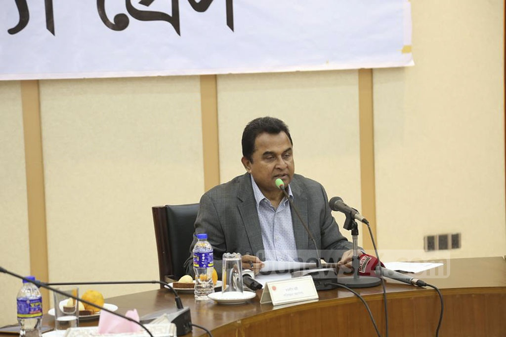 Planning Minister AHM Mustafa Kamal speaking at a press conference at the ministry in Dhaka on Wednesday.