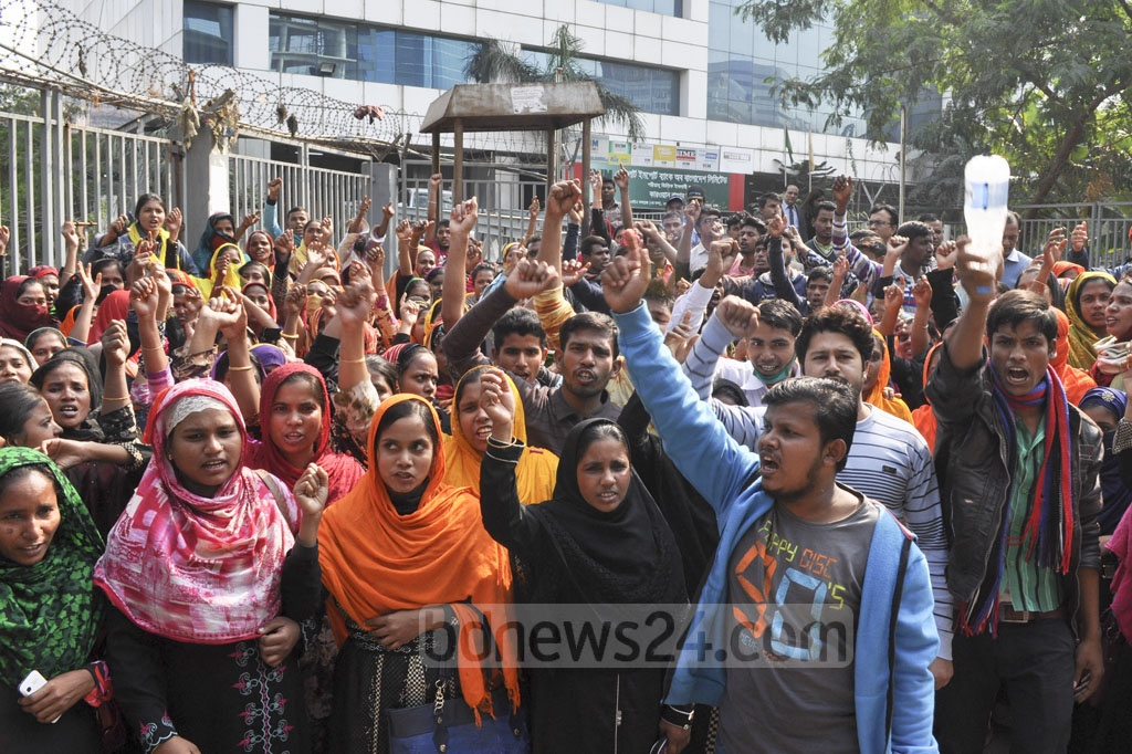 Workers from Gazipur's Doreen Garments protest the firing of more than 200 coworkers, in front of the BGMEA building in Dhaka on Wednesday.