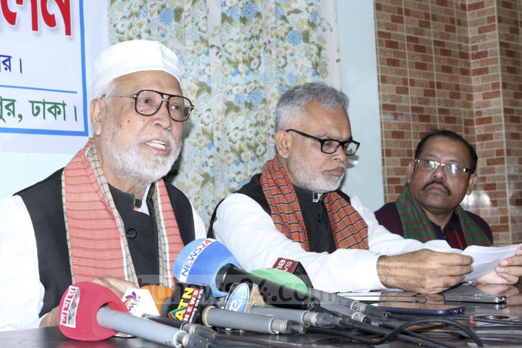 Jatiya Oikya Front alliance leader and Krishak Sramik Janata League President Abdul Kader Siddique speaking at a news conference at his home in Dhaka's Mohammadpur on Wednesday.