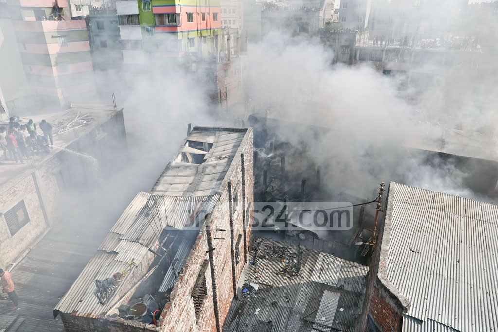 A fire devastated several homes, small plastic goods factories and warehouses at Lalbagh in Dhaka on Thursday.