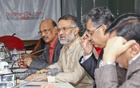 Bangladesh Sangbad Sangstha Chief Editor Abul Kalam Azad, bdnews24.com Editor-in-Chief Toufique Imrose Khalidi, The Daily Janakantha Executive Editor Swadesh Roy and senior journalist Abed Khan attending the meeting of the Editors Guild, Bangladesh at the bdnews24.com offices in Dhaka on Friday.